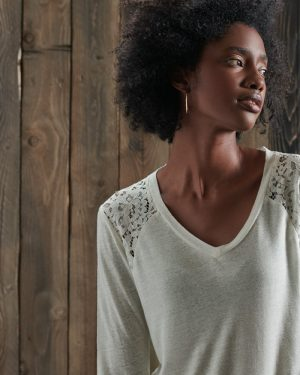 Superdry Nyc Lace Shoulder Top Cream