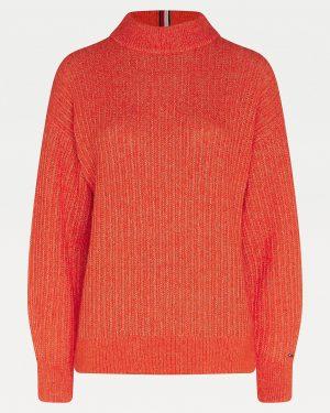 Tommy Hilfiger Texture Stitch Mock Neck Oxidized Orange