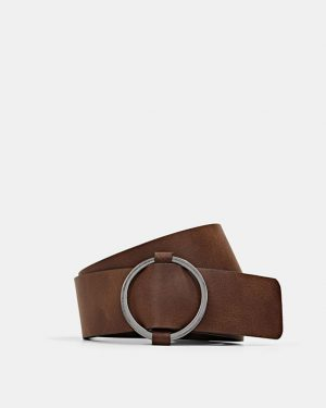 Esprit Leather Belt Rust Brown