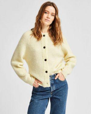 Selected Femme Lulu Short Cardigan Pastel Yellow