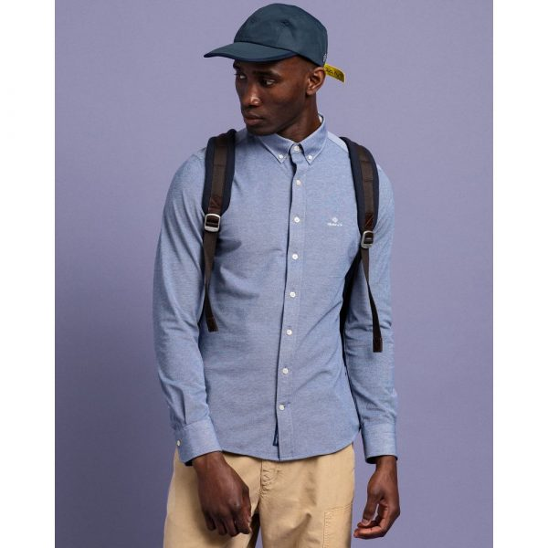 Gant Pique Solid Slim Shirt Persian Blue