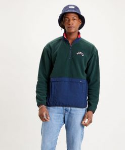 Levi´s Quarter Zip Polar Fleece Python Green