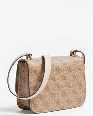 Guess Noelle 4G Logo Mini Crossbody Beige