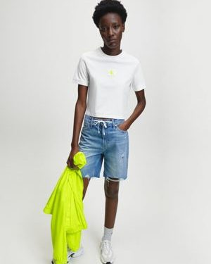 Calvin Klein Badge Cropped Tee Bright White