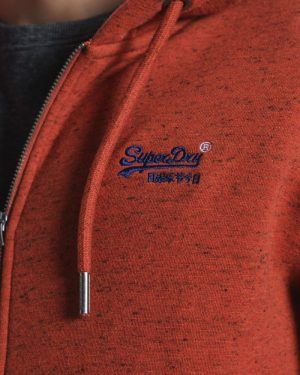 Superdry Classic Zip Thru Hoodie Arizona Orange Grit