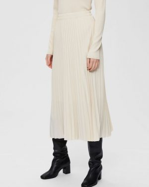 Selected Femme Alexis Pleated Skirt Birch
