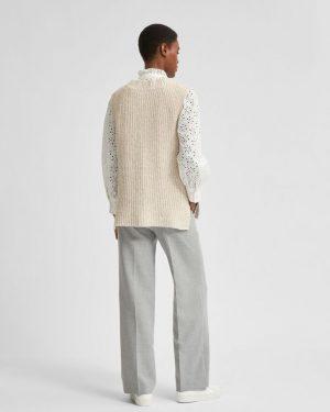 Selected Femme Helena Knit Vest Sandshell