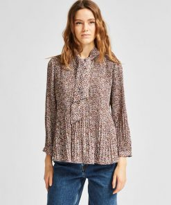 Selected Femme Recycled Plisse Tie Neck Top Cappuccino