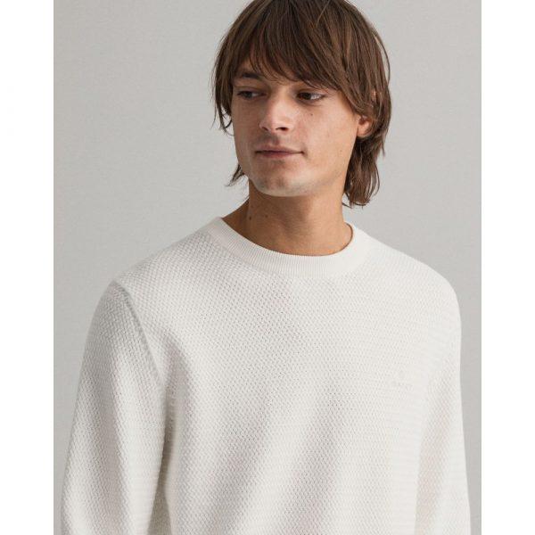 Gant Basketweave Crewneck Sweater Eggshell
