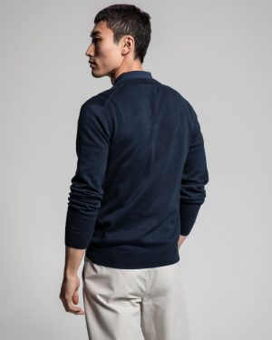 Gant Classic Cotton V-Neck Sweater Evening Blue
