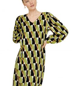 Comma, Big Graphic Dress Spring Green