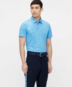 J.Lindeberg Tony Golf Print Shirt Neo Deboss Ocean Blue