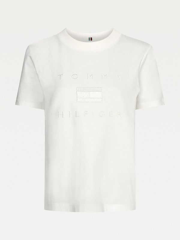 Tommy Hilfiger Logo Embroidery Crew Neck T-shirt Ecru