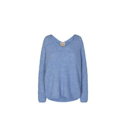 Mos Mosh Thora V-neck Knit Bel Air Blue