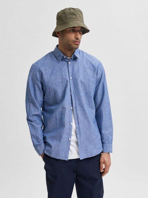 Selected Homme New Linen Shirt Blue