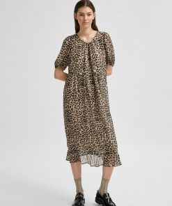 Selected Femme Tilda Midi Dress Smoke Gray