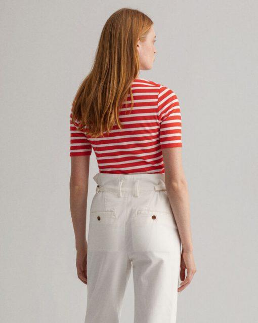 Gant Woman Striped Rib T-shirt Lava Red