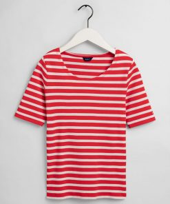 Gant Women Striped Rib T-shirt Lava Red