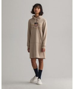 Gant Woman Archive Shield Hoodie Dress Dry Sand
