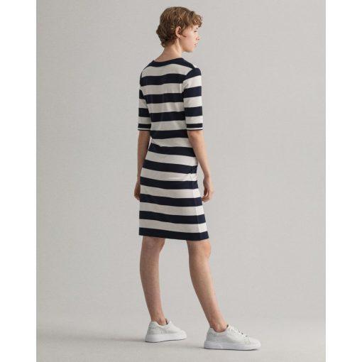 Gant Woman Striped Jersey Dress Evening Blue