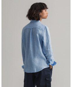 Gant Woman Linen Shirt Pacific Blue