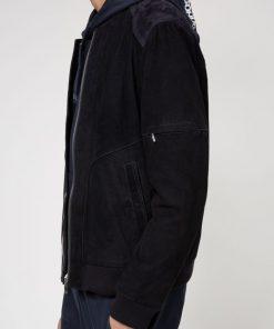 Hugo Boss Laori Leather Jacket Dark Blue