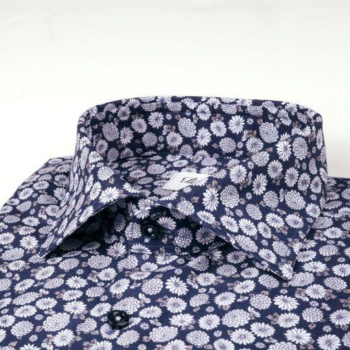 Stenströms Navy Floral Slimline Shirt Navy