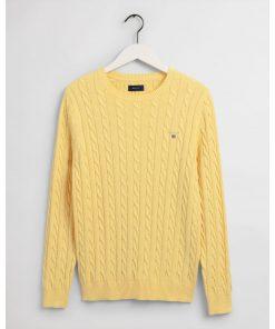 Gant Cotton Cable Crew Brimstone Yellow Melange