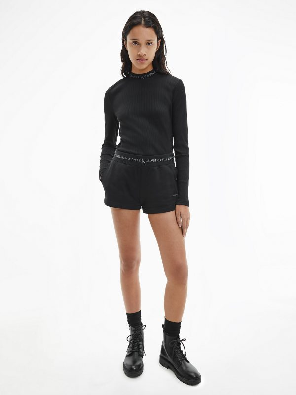 Calvin Klein Logo Trim Jogger Shorts Black