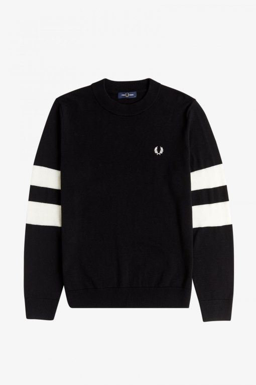 Fred Perry Tipped Sleeve Crew Neck Jumper Black