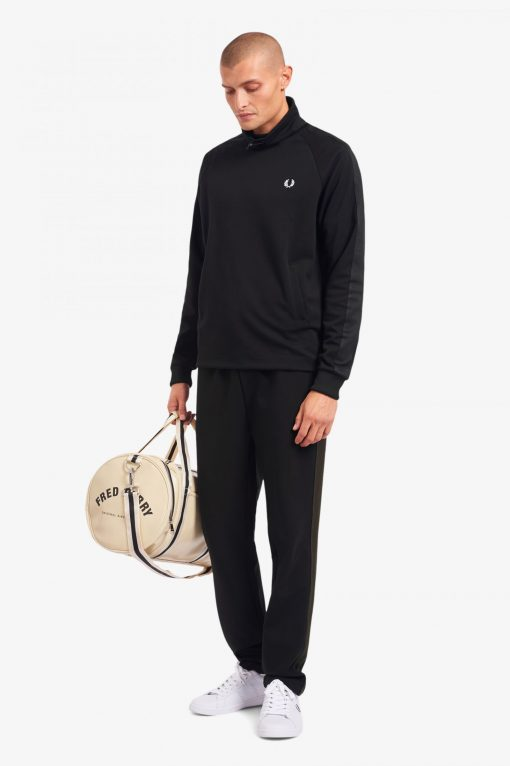 Fred Perry Tonal Tape Funnel Neck Top Black