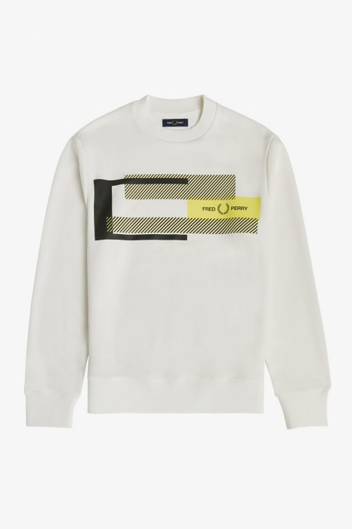 Fred Perry Mixed Graphic Sweatshirt White