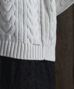Superdry Dropped Shoulder Cable Crew Neck Jumper Winter White