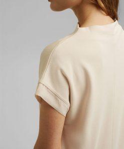 Esprit High Neck T-shirt Cream Beige