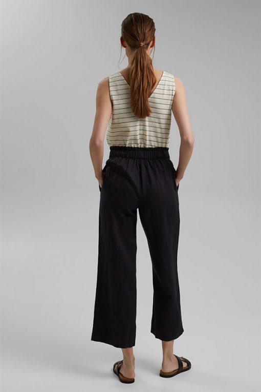 Esprit Linen Culotte Pants Black