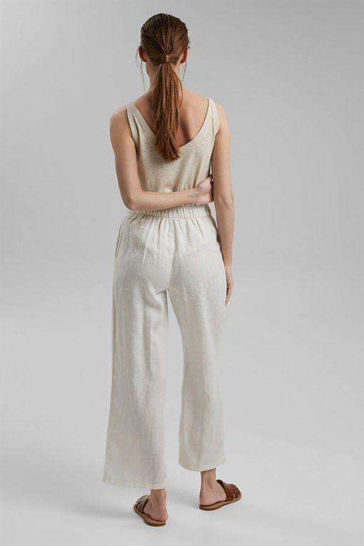 Esprit Linen Culotte Pants Offwhite