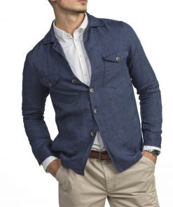 Hansen & Jacob Linen Overshirt Midblue