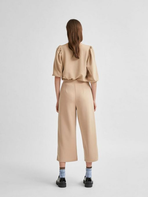 Selected Femme Tenny Wide Cropped Pants Beige