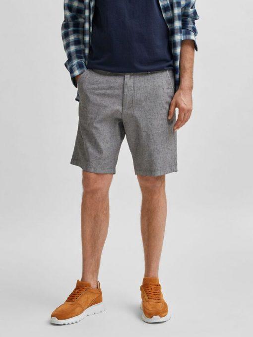 Selected Homme Miles Slim Fit Linen Shorts Black