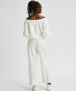 Selected Femme Bubble Offshoulder Top White