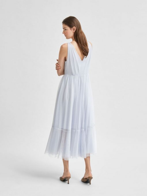 Selected Femme Suzy Mille Tulle Dress Arctic Ice