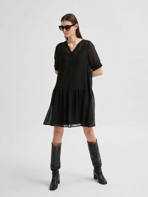 Selected Femme Abigail Short Dress Black