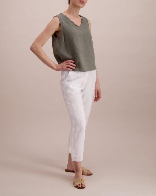 Balmuir Louise Linen Trousers White
