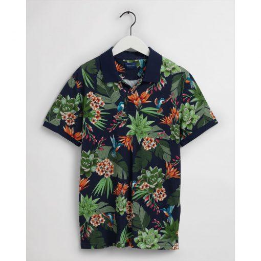 Gant Humming Garden Pique Shirt Evening Blue