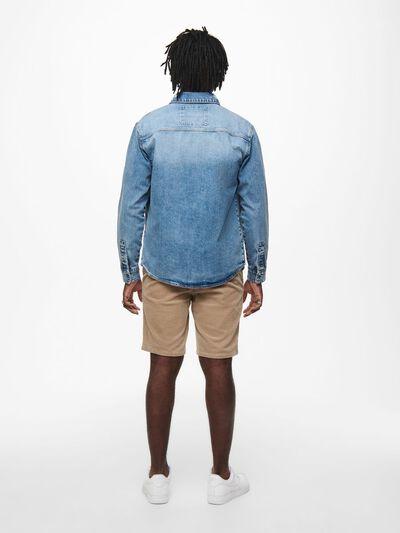 Only & Sons Denim Overshirt Blue