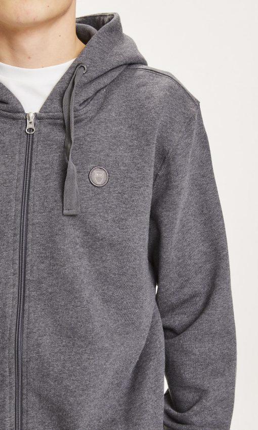 Knowledge Cotton Apparel Elm Zip Hood Basic Badge Sweat Phantom