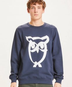 Knowledge Basic Owl Print Sweat Dark Navy