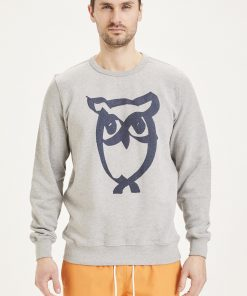 Knowledge Basic Owl Print Sweat Grey Melange