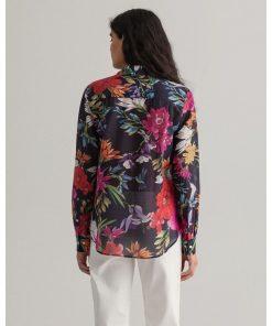 Gant Woman Humming Floral Cotton/Silk Shirt Evening Blue