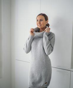 Pura Cotton Long Polo Dress Grey
